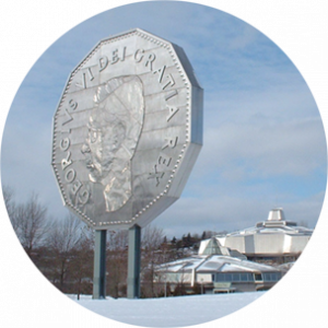 "Large sculpture in Sudbury of silver Canadian coin; ""GeorgIVs VI Dei Gratia Rex"""